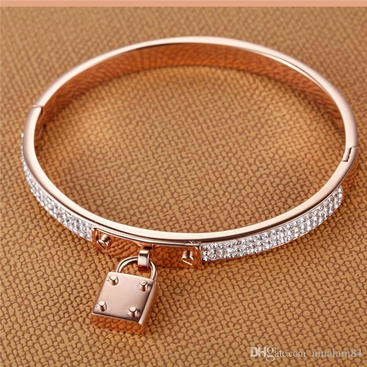 2018 New Stainless Steel Women Bangles Key Charm Bracelets Gold/Silver Tone Padlock PVD Rose Gold Color Females Jewelry Pulseras
