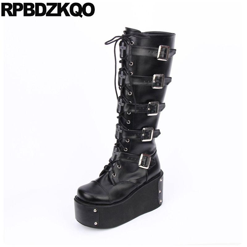 343d59ba8bd Ladies Knee High Wedge Heel Platform Womens Punk Goth Lace Up Biker ...
