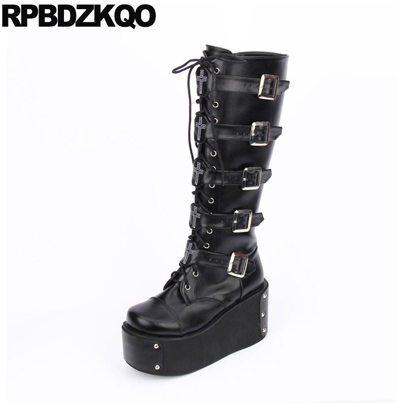 2bbefaeb5f0 Knee High Wedge Harajuku Black 12 44 Shoes Belts Women Big Size Lace Up  Heel Gothic Platform Boots Punk Muffin 13 45 Motorcycle Military Boots  Walking Boots ...