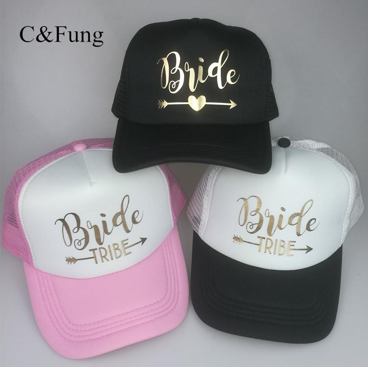 503329cc42831 C Fung Design Bride Truckers Bride Tribe Hats Gold Letter Arrow Bridal  Bachelorette Party Hat Team Bridesmaid Wedding Gift Flat Caps Trucker Caps  From ...