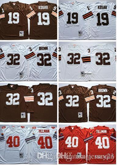 7fea1aae3 2019 Retired Player 32 Jim Brown Jerseys Vintage 19 Bernie Kosar 40 Pat  Tillman Jersey Long Sleeve Team Color Throwback Stitched Jersey From  Usa jersey23