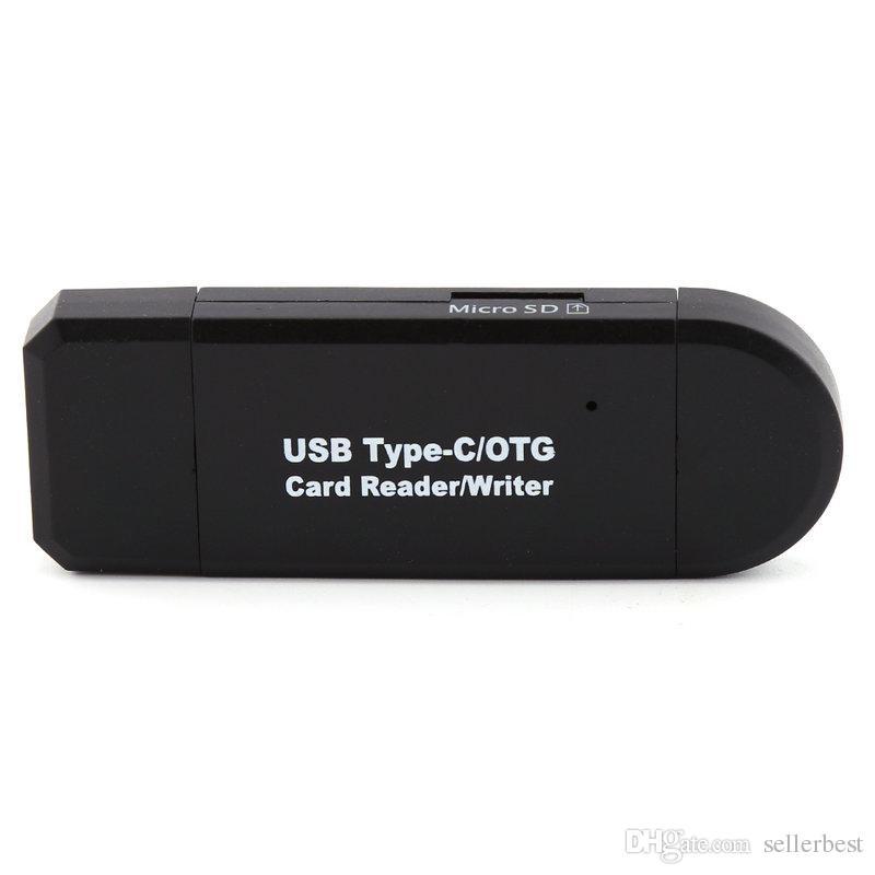 Smart Card Reader Type-C USB 2.0 OTG TF Micro SD Carte Mémoire Lecteur Hub pour Macbook Ordinateur Android Téléphone Universel