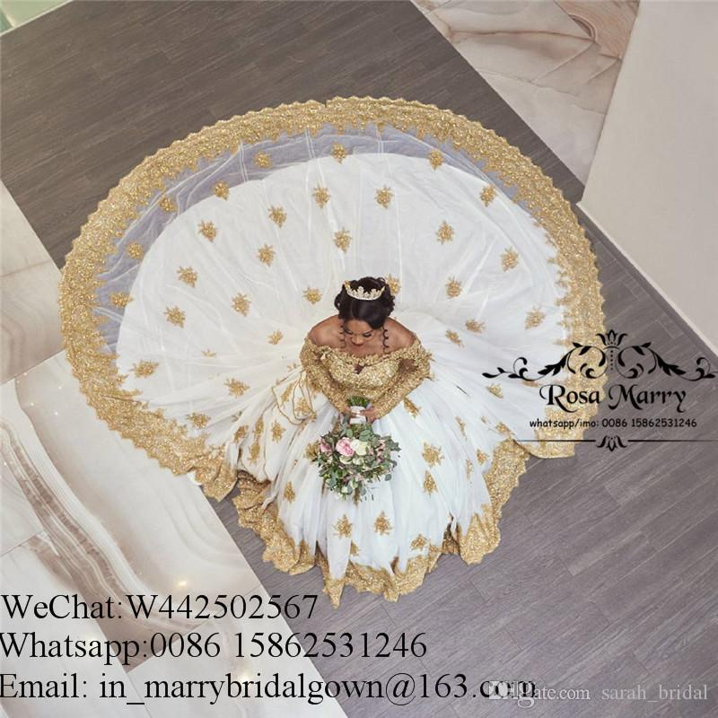 Bellanaija Vestido de bola de encaje dorado Vestidos de novia 2020 Manga larga Tallas largas Cristales Capilla Tren Chicas negras Vestidos de novia musulmanes africanos