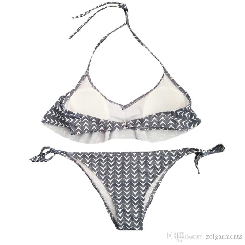Bademode Sexy Frauen Bikini Set Weste Top Bottom Set Push Up Print Arrow Stil Bademode Grau Badeanzug Badeanzug Bikin Female Unterwäsche
