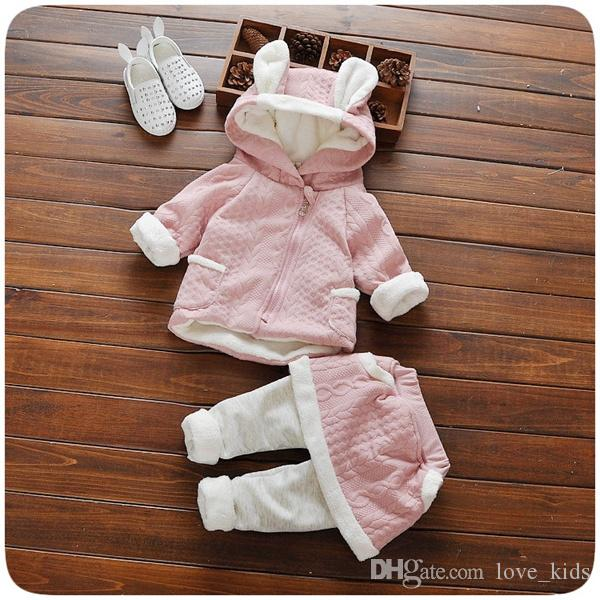 Wholesale New baby girls cute winter Outfits Baby Girls Clothing Sets rabbit ear sweater Top+pant skirt Princess todder Clothes Suit