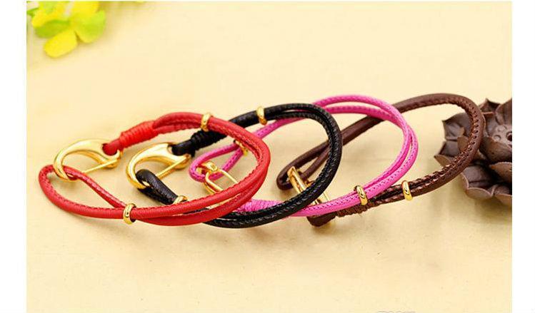 Braccialetti di fascino Braccialetto di cuoio delle donne di amore di modo dei braccialetti di fascino del braccialetto dei braccialetti di fascino d'oro intrecciati all'ingrosso del braccialetto regalo fortunato