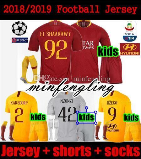 BEST!2018 2019 kids kit as roma soccer jersey 18 19 DZEKO totti PASTORE  KARSDORP EL SHAARAWY NZONZO PEROTTI champions league football shirts