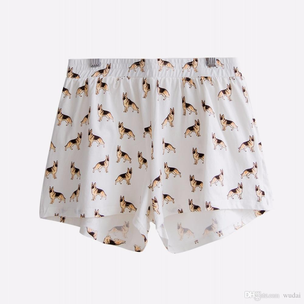 2019 New Summer Pajama Shorts Cotton German Shepherd Dog Print Cute Shorts  Elastic Waist Loose S XXL Home Wear Pyjamas B73901 From Wudai b2ba15648