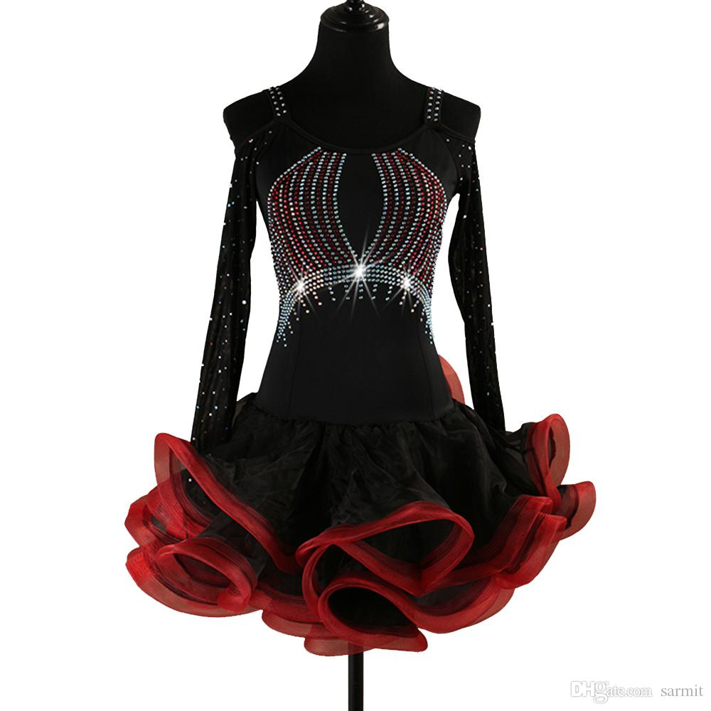 2019 Latin Dance Dress Women Latin Dance Competition Dresses Flapper Dress  Samba CHEAP D0468 Fluffy Sheer Hem Net Long Sleeve Rhinestones From Sarmit 1baae5b1a