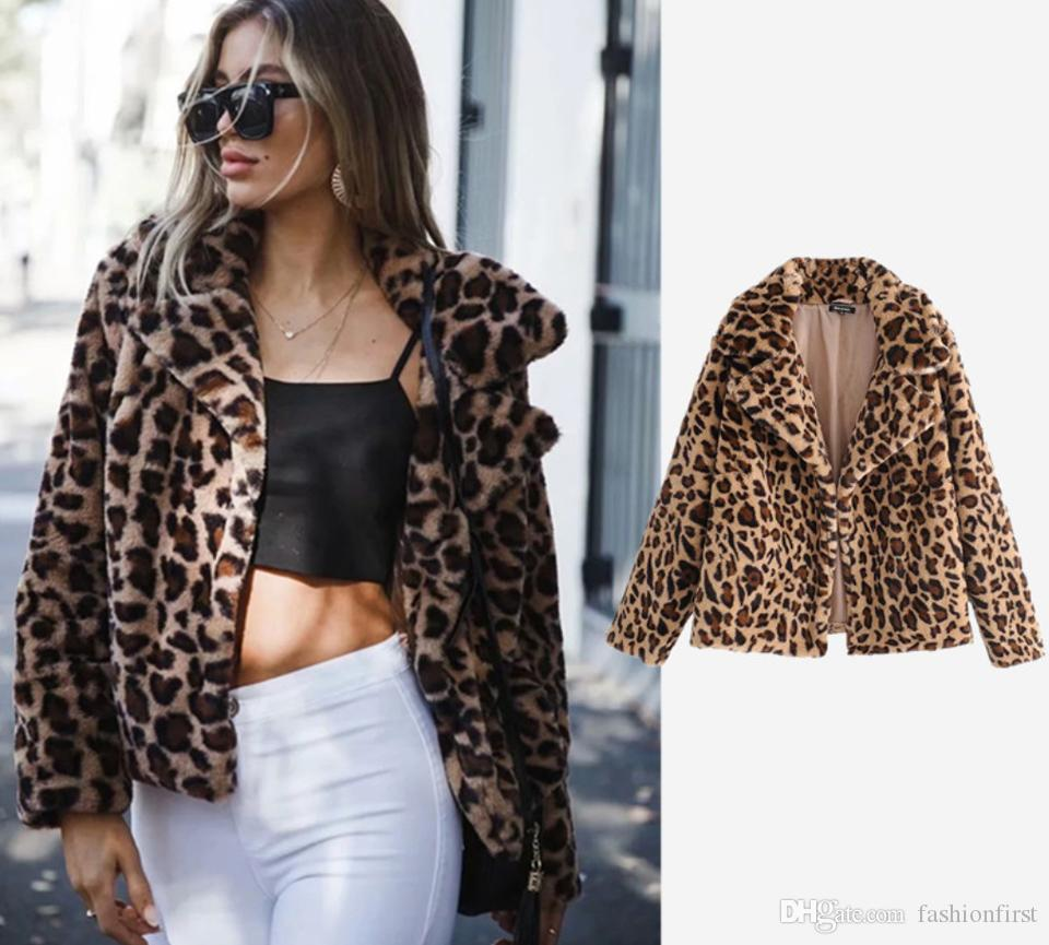 6f751ae2633 2019 Faux Fur Leopard Coat Faux Fur Jacket With Leopard Print Lapels Animal  Print Coat Leo Warm Winter Women Jacket From Fashionfirst
