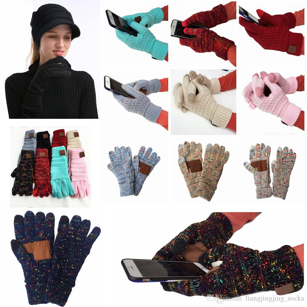 Knitting Touch Screen Glove Capacitive Gloves Women Winter Warm Wool Gloves Antiskid Knitted Telefingers Glove Christmas Gifts AAA1335-1
