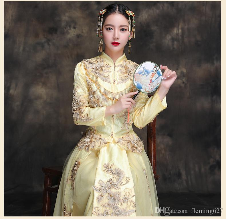 Wedding Cheongsam Chinese traditional elegant clothing Summer bride wedding dress high quality cheongsam gown Fashion show yellow kimono