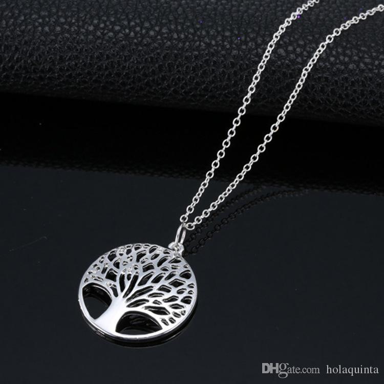 Collar elegante del colgante del árbol de la vida de la plata esterlina de las mujeres 925 Jewlery de la moda