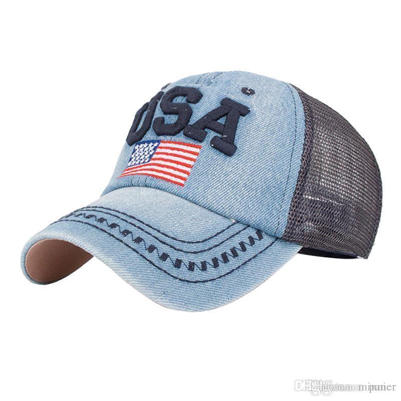 dac3a708285 Feitong Fashion Denim Caps Women S Men Snapback Jeans Baseball Cap Mesh Sun  Hats For Women Gorras Summer Bones Casquette Lids Cap From Minnier