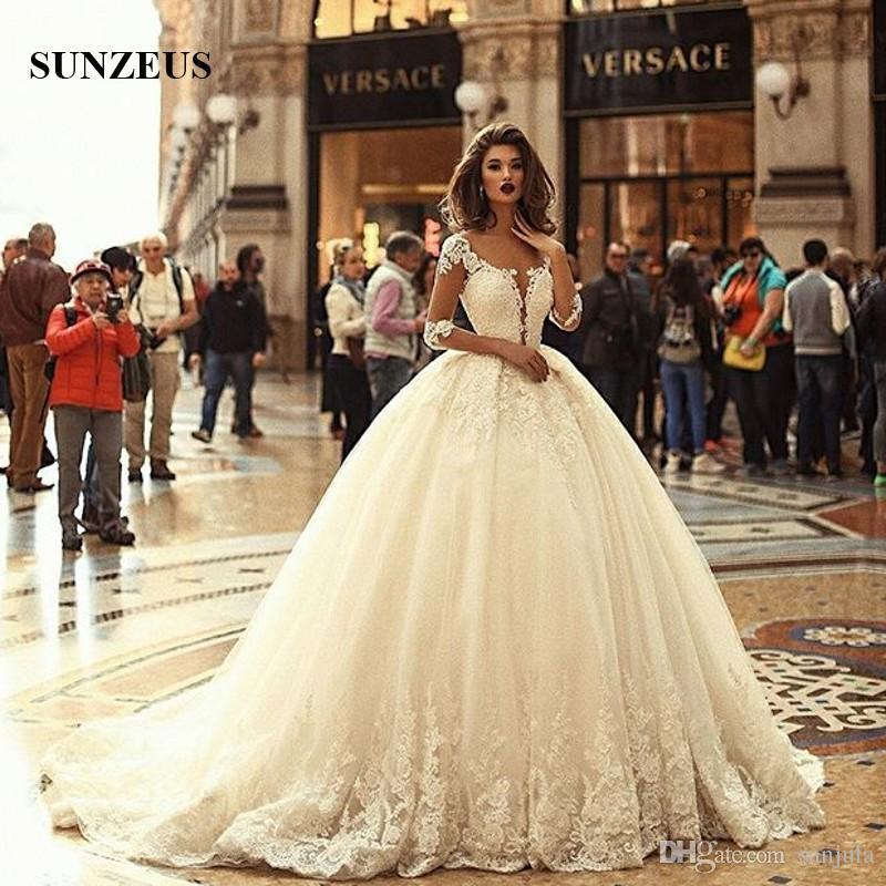 Beautiful Ball Gown Wedding Dresses Deep V Neck Half Sleeves ...
