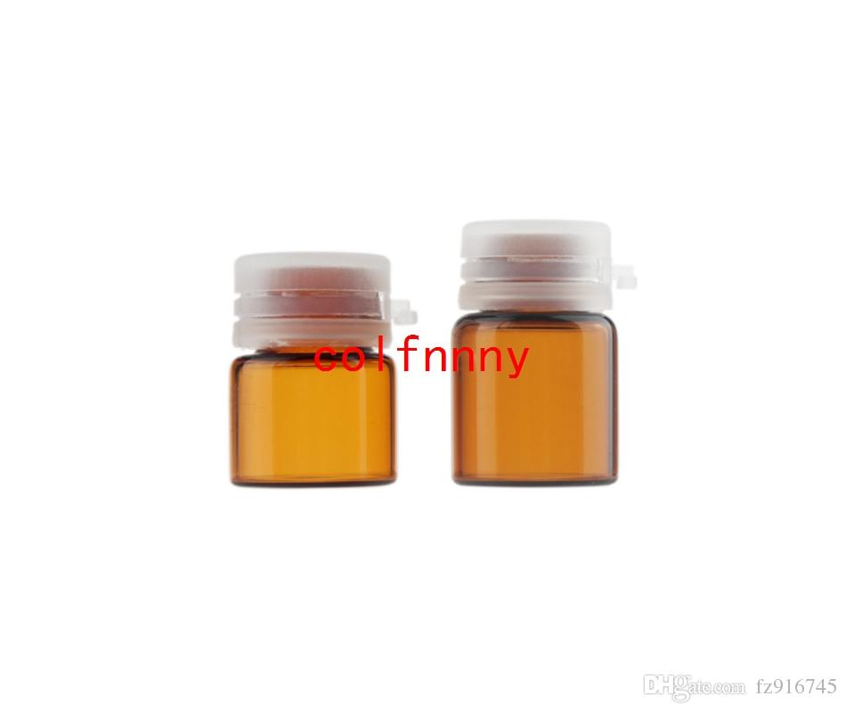 100 teile / los Schnelles Verschiffen 1 ML 2 ML Brown Flasche ätherisches Öl, Verschluss Bajonett Flasche Reißverschluss, Kosmetische Glasflasche