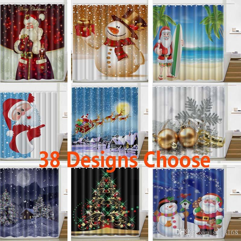 2019 Christmas Shower Curtain Santa Claus Snowman New Waterproof 3D Printed Bathroom Decoration With Hooks 165180cm HH7 230 From Seals168
