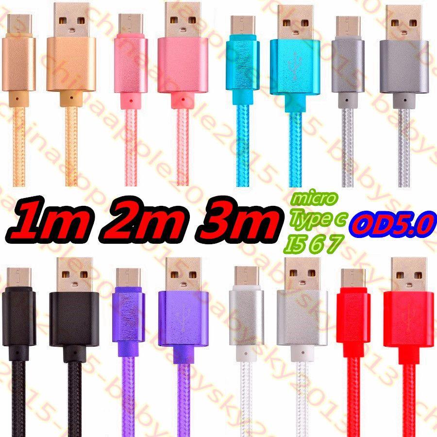 Tipo de carga rápida c Cable Micro Usb 1m 2m 3m OD 5.0 Cable de aleación de nylon trenzado más grueso para samsung s6 s7 edge s8 s9 htc teléfono con Android
