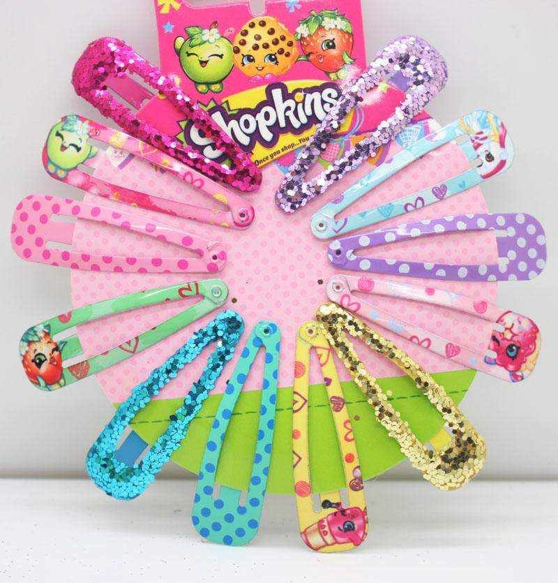 Christmas Gifts 12pcs /Set 10set Cute Printing Hairpins Glitter Headwear Hair Snap Clips Girls Bobby Pins Hair Accessories Barrettes