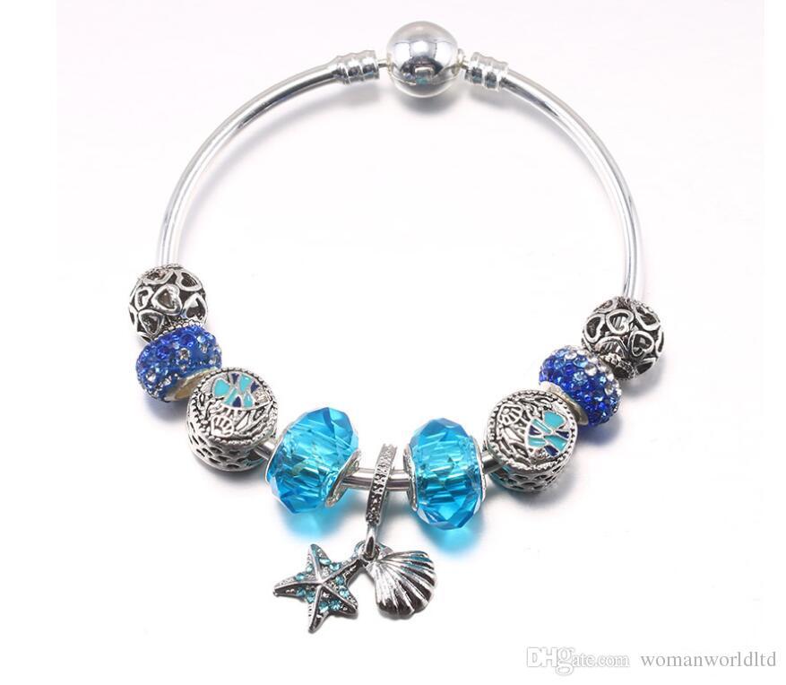 Fashion 925 Sterling Silver Starfish shell Glass&Crystal European Charm Beads Fits Charm bracelets Style Bracelets