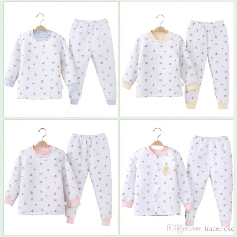 winter baby pajamas clothes suit cotton quilted newborn sleepwear kids nightgown children cardigan trouser girls underclothes underwear girls christmas pjs