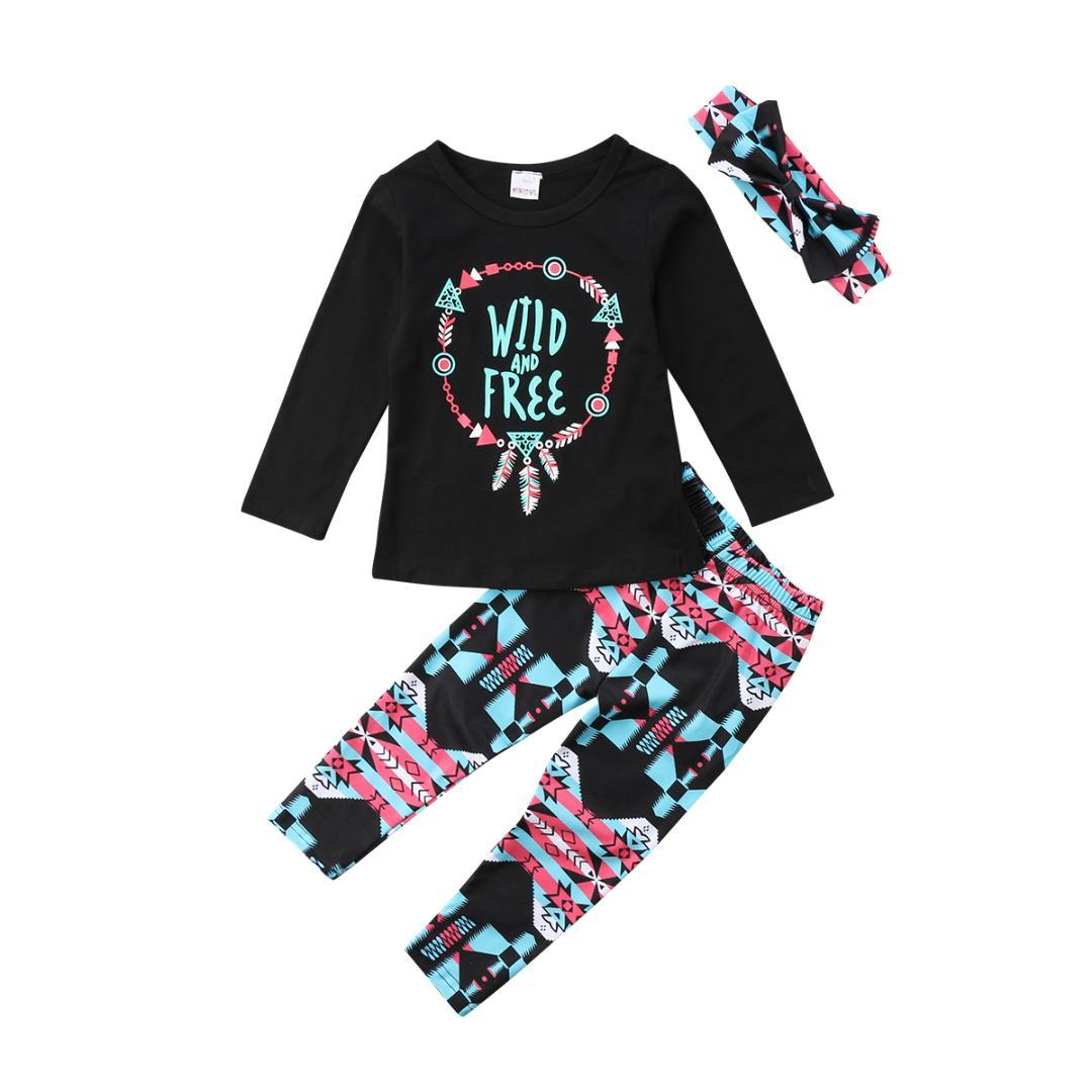 f5f63f775125 2019 Soft Cotton Fashion Kids Baby Girls Clothes Bow+Tops Long Sleeve  Letter T Shirt +Long Pants Leggings Outfits Set Age 2 7Y From Begonior, ...