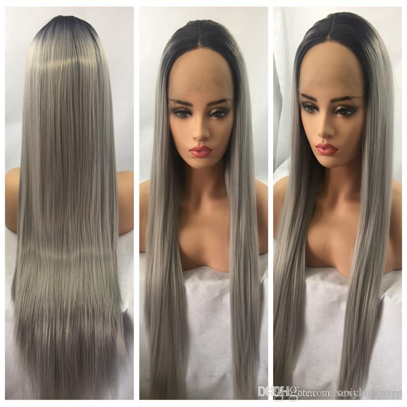 Wholesale Cheap Straight Hair Wigs Heat Resistant Ombre Gray Long Silky  Straight Wigs Glueless Synthetic Lace Front Wigs For Black Women Vanessa  Fifth ... 478aa0b69b23