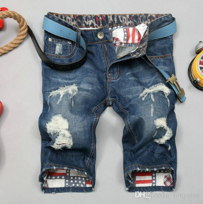 ac9a6e070d9 2019 Brand Designer Mens Jeans Shorts Motorcycle Biker Jeans Rock Revival  Short Pants Skinny Slim Ripped Hole Men S Denim Shorts Men Designer Sho  From ...