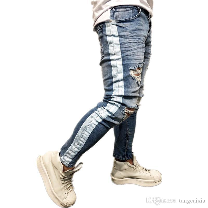 8d650b040900 2019 Knee Hole Jean Side Zipper Slim Distressed Jeans Men Ripped Tore Up  Streetwear Hiphop Slim Stripe Print Pants Wholesale From Tangcaixia, ...
