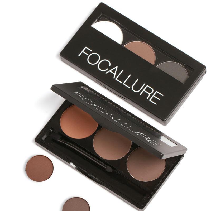 0c42965e079f Focallure Eye Brow Makeup Kit Set 3 Color Waterproof Eye Shadow Eyebrow  Powder Make Up Palette Women Beauty Cosmetic