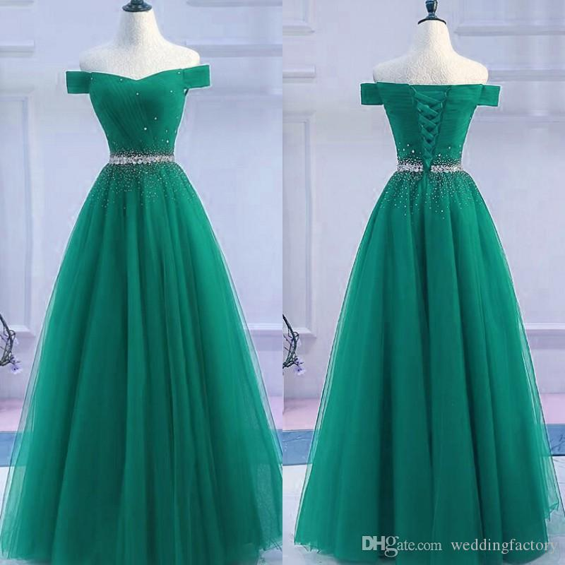 c8ca832bffb 2019 Modest Prom Dresses Long Formal Dress Green Tulle Off The Shoulder Crystals  Lace Up Corest Back Floor Length Evening Gowns Formal Dress Shop Dresses ...