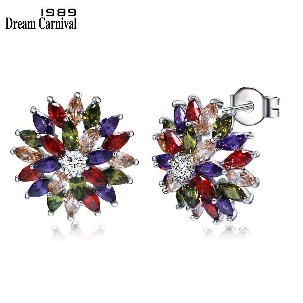 79ee2095 DreamCarnival 1989 flor de lujo redondo y Marquise corte Multi colores  Cubic Zirconia Stones pendiente del perno prisionero para mujeres regalos  E5823