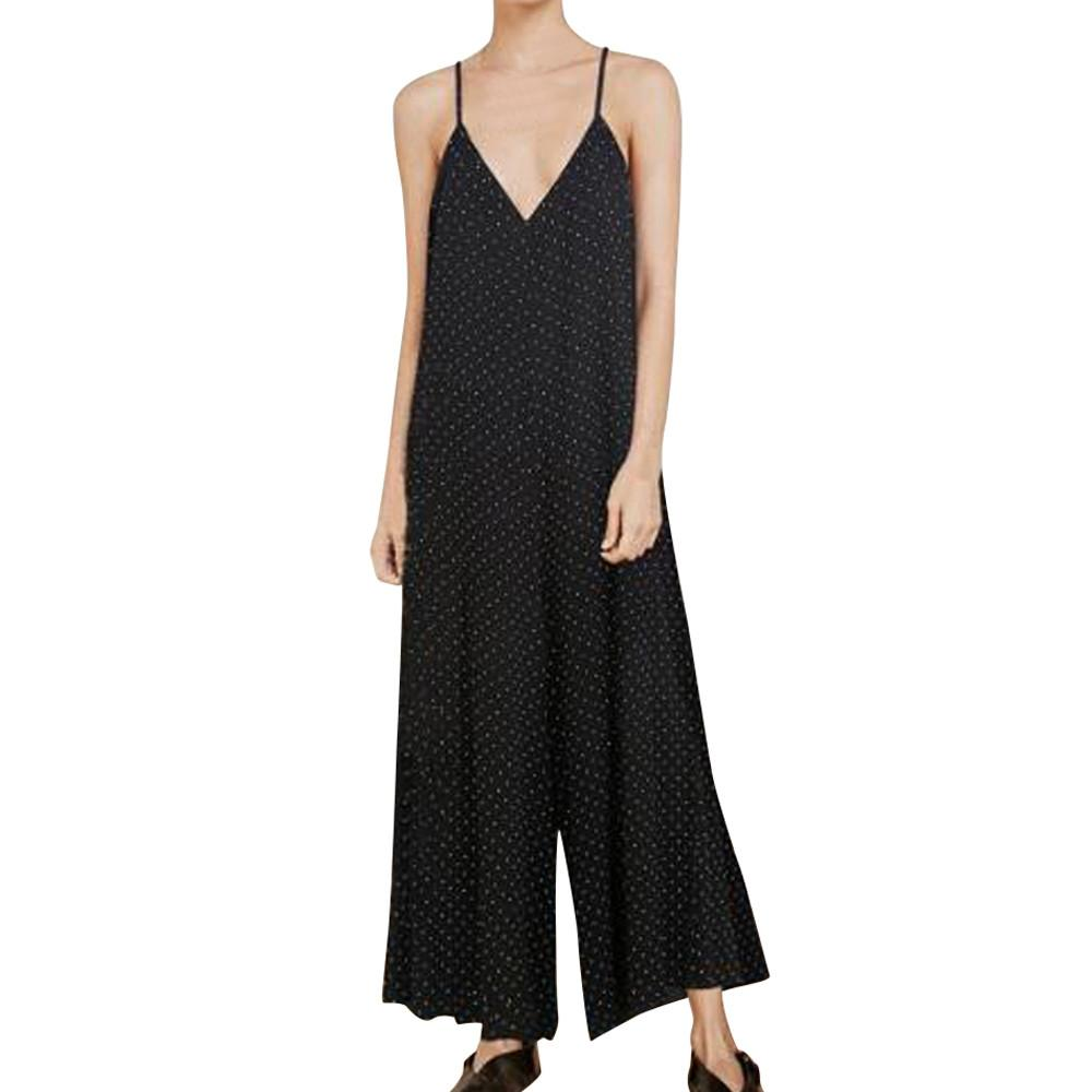 Compre Correa Mono De Pierna Ancha 2018 Polka Dot Print Mujeres Summer V  Neck Pantalones Negros Pantalones Largos De Pantalón Suelto Plus Size  Rompers A ... d0d0039f7004