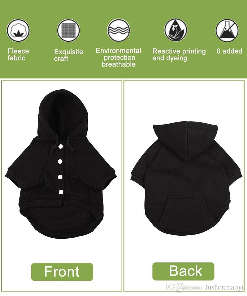 Small Dog Clothes Dog Hoodies Hkim Soft Cotton Pet Poodle Clothes with Pocket Fashion Fleece Sweaters Puppy Sweatshirt