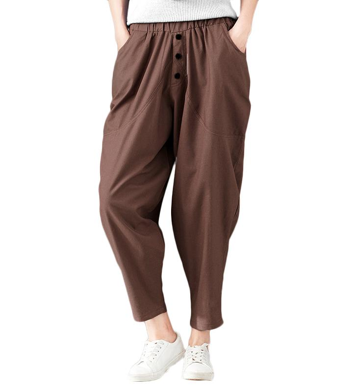 ca6513e51df 2019 New Woman Loose Pants Elastic Waist Pockets Casual Baggy Harem Trousers  Ladies Pants Grey Black Coffee Womens Trousers 2019 From Jamie07