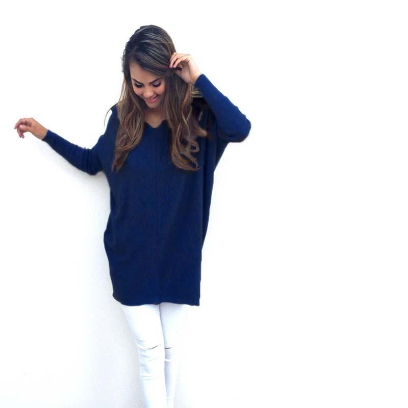 2017 Sonbahar Yeni Moda Kadın Kazak ve Kazak Boy Tarzı Rahat Uzun Kollu V Yaka Uzun Kazak elbise çekin femme hiver