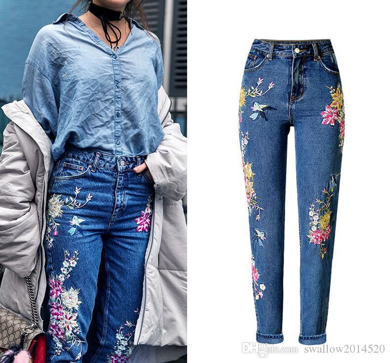 super popular 2945e 0083b Nuovi vestiti di moda Donna Pantaloni denim Jeans lunghi dritti Pantaloni  Fiori 3D Ricamo Pantaloni a vita alta Jeans donna Legging