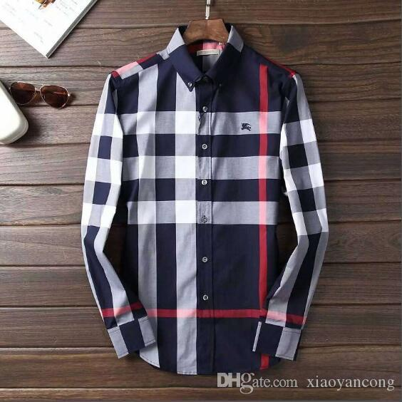 1e45ae764b55 2019 2018 Brand Men S Business Casual Shirt Men Long Sleeve Striped Slim  Fit Masculina Social Male T Shirts New Fashion Man Checked Shirt  6716 From  ...