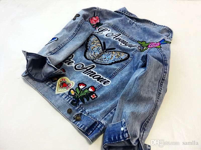 Veste en jean brodée Femmes Mode Basic Coats Vestes Revers Col Floral Vintage Femme vêtements Livraison gratuite