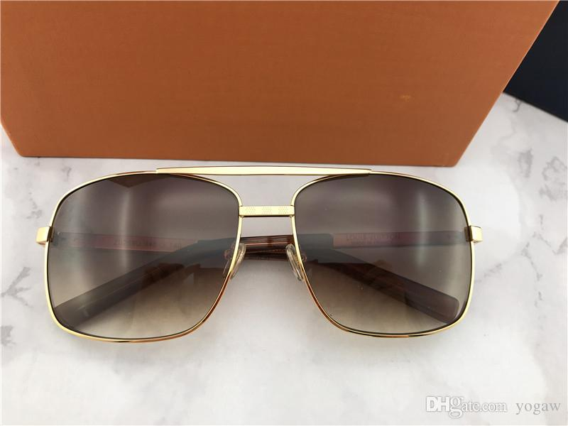 Mens Attitude Pilote Sunglasses Gold/Brown Sonnenbrille Fashion Brand Sunglasses Sun Glasses Eyewear outdoor New with Box