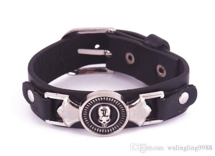 Venta caliente punk negro pulsera de cuero para hombre Harley Harley Motocicleta Skull Skeleton Charms Biker Bracelets para el hombre Joyería de moda