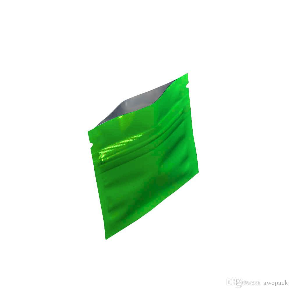 7.5*6 см зеленый маленький майлар Zip Lock сумки тепла Sealable водонепроницаемый алюминиевой фольги пищевой чай кофе SmellProof хранения ZipLock упаковка мешок