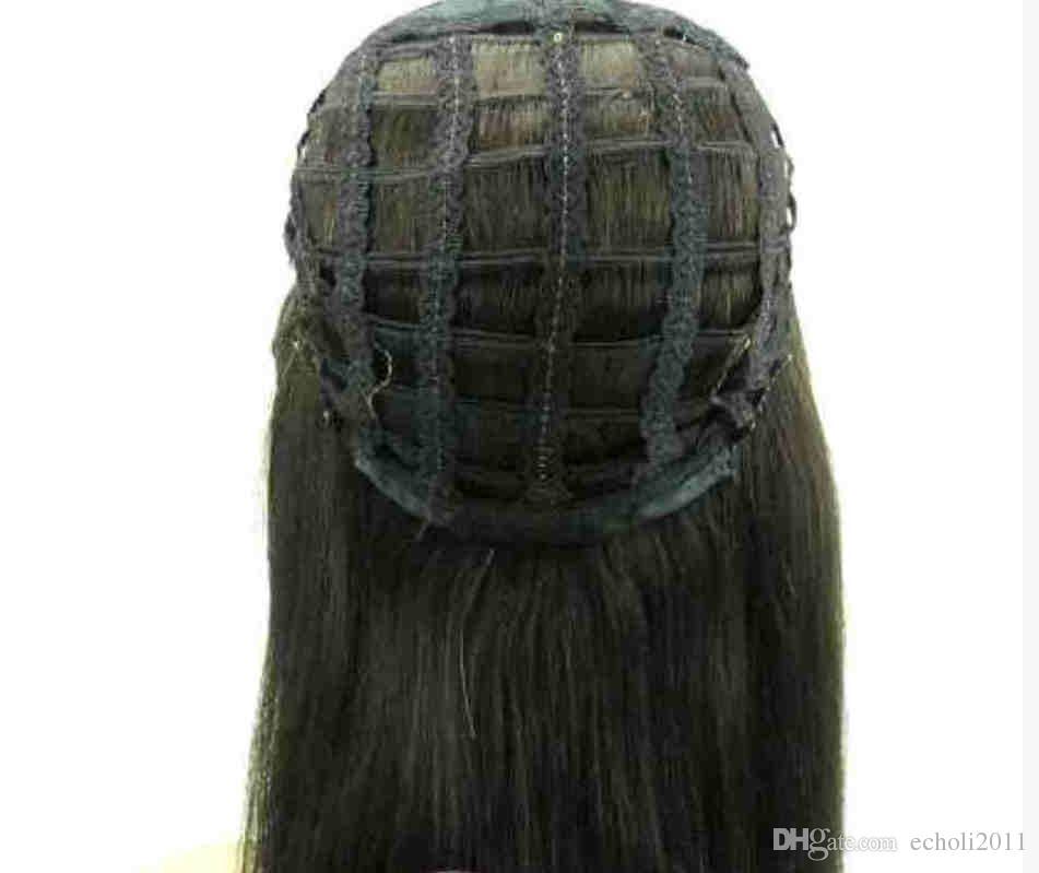 Schwarz Blonde lockige 3/4 Menschliches Haar Halb Perücken 4 farben Reine Brasilianische Menschenhaar maschine gemacht Lace Perücken für Frauen