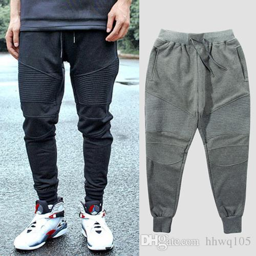 2e084acdd1 Compre 2018 Nuevos Hombres De Algodón Jogger Pantalones Negro Gris  Pantalones Deportivos Moda Cordón De La Cintura Pantalones De Chándal Hip  Hop Pantalones ...