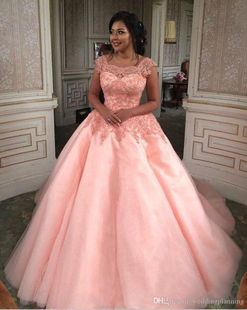 Discount 2018 Square Neckline Light Pink Wedding Dresses Short ...