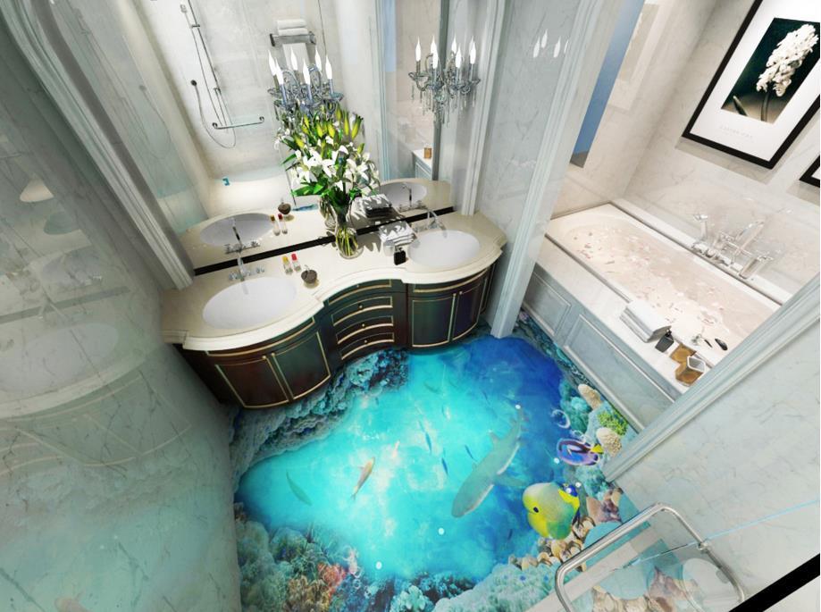 Acquista 3d sfondi bagno 3d piastrelle pavimenti oceano carta da