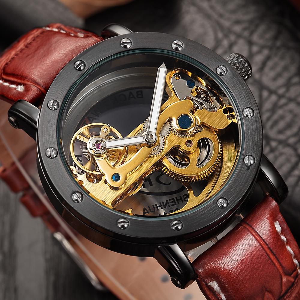 24b72401ef7 Compre Relogio Masculino SHENHUA Automático Tourbillon Relojes Hombres Top  Marca De Lujo Banda De Cuero Reloj De Esqueleto Transparente L18100703 A   72.79 ...