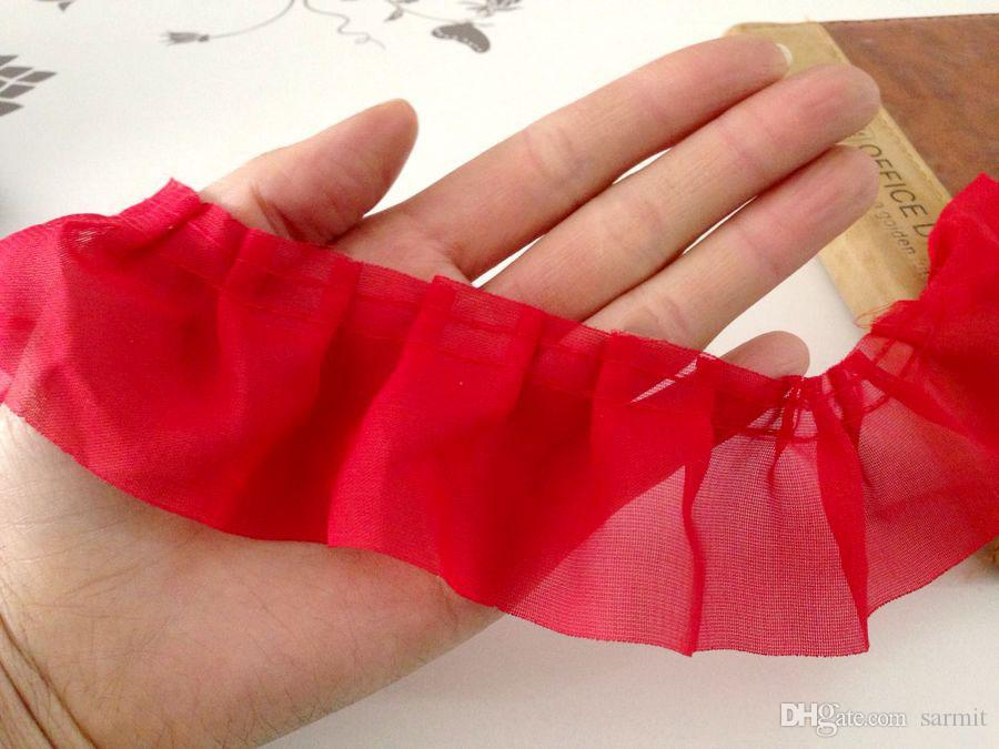 Tessuto rifinitura in pizzo rosso 6Yds./Chiffon decorativo in rilievo con increspatura in chiffon 4.5cm Decorazione in rilievo KC1