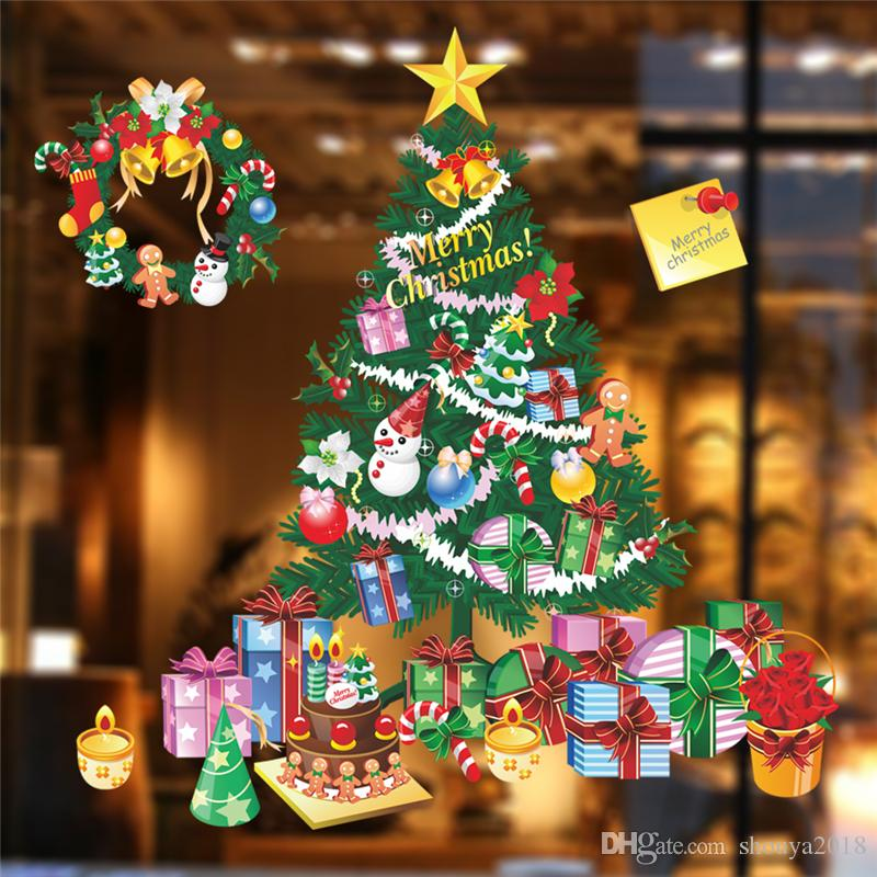 Бесплатная доставка фантастический Рождественская елка украшения стены стикеры Главная наклейки Diy фестиваль партии росписи искусства дети Рождественский подарок