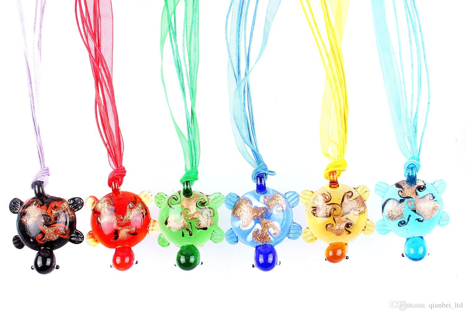 QianBei Wholesale Multicolor Gold Sand Turtle murano Lampwork Glass Pendant necklaces Jewelry Accessory handmade Craft Jewelry